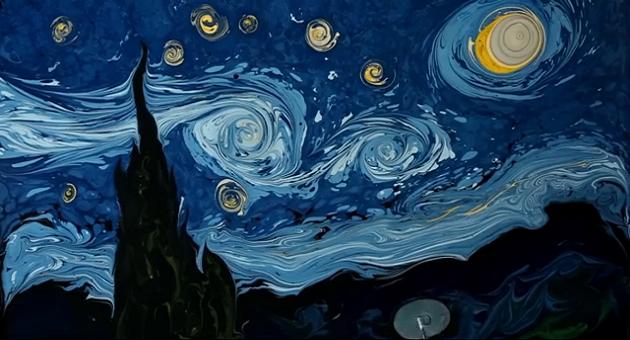 Van Gogh'un 'Yıldızlı Gece'si ebru oldu